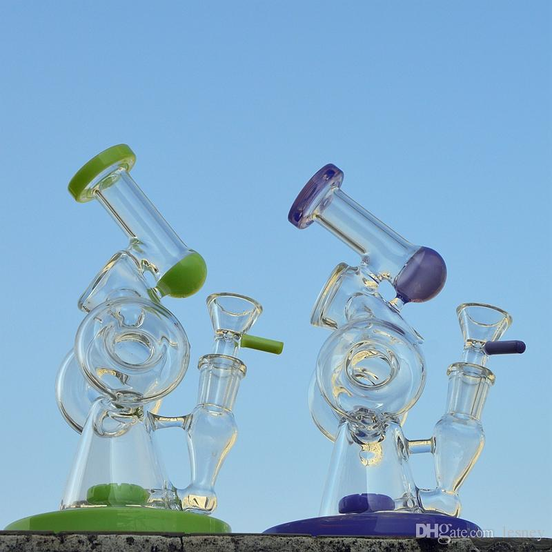 8 Inch Glass Bong Double Recycler Heady Glass Water Bongs Oil Rig Purpel Green Bent Tube Donut Perc Dab Rigs Water Pipe XL320