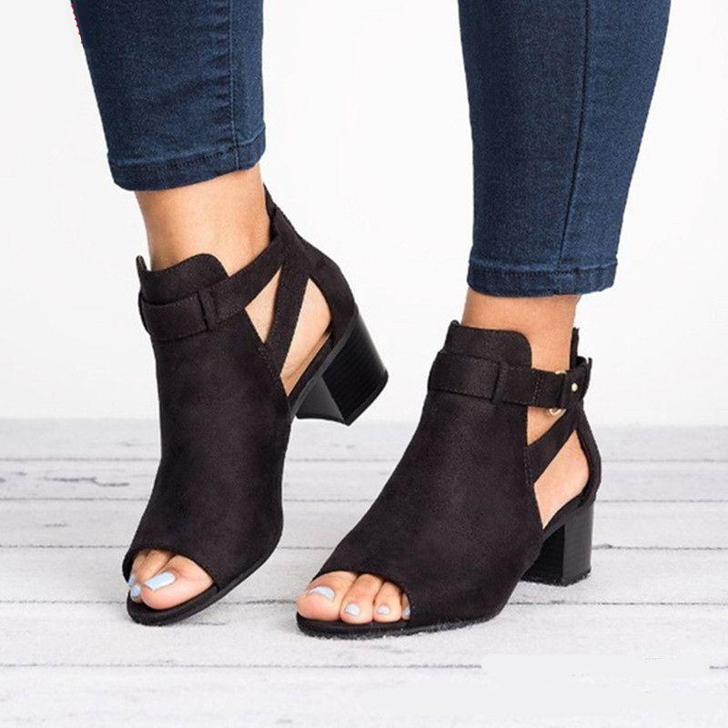 Sandalias de mujer Zapatos de verano para mujer Zapatos Tacones Sandalias Gladiador Peep Toe abierto Zapatos de mujer Negro Zapatillas Zapatillas Tamaño 34-43 Y190704