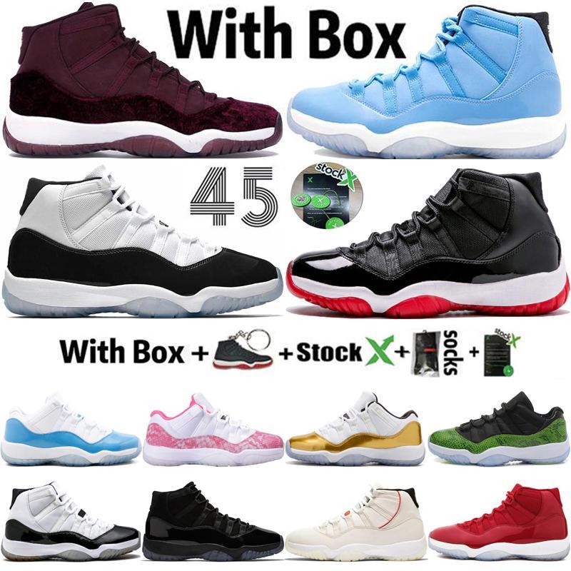 2020 Yüksek Düşük 11 11'leri Bred Pantone Erkek Kadınlar Basketbol Ayakkabı Tasarımcısı Jumpman Concord 45 23 Kırmızı Kadife Spor Sneakers Eğitmenler Boyut 13