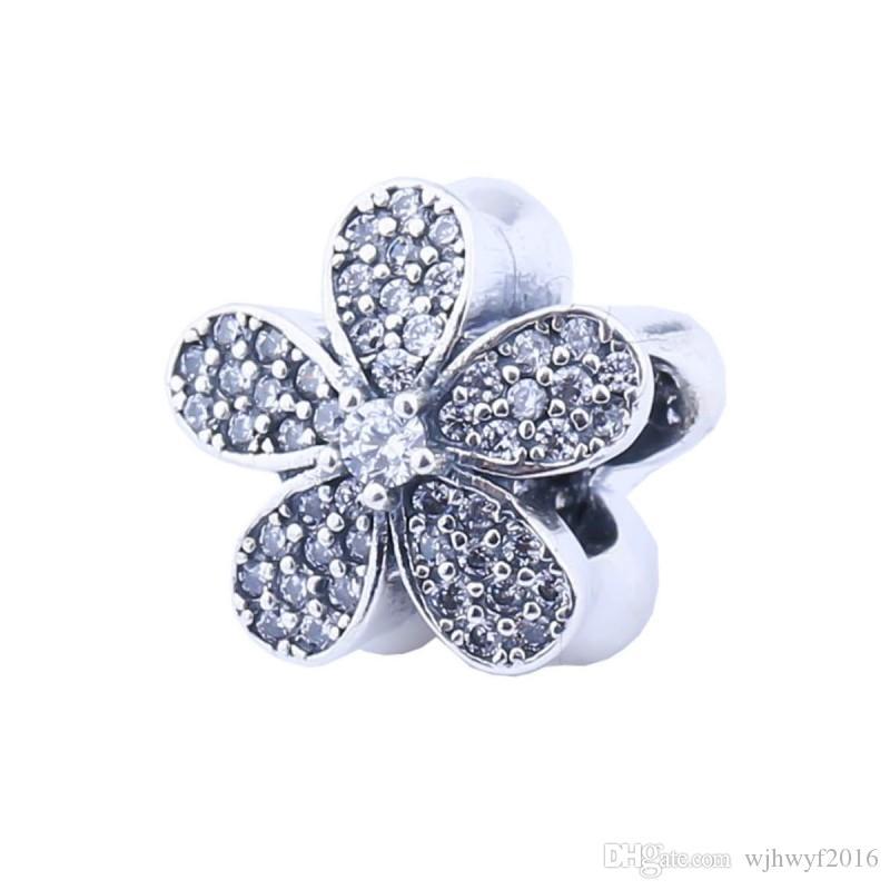Micro Pave Cristal Daisy Charmes Perles Authentique 925 Sterling-Argent-Bijoux Perle Fleur DIY 2017 Été Marque Bracelets Accessoires HB286