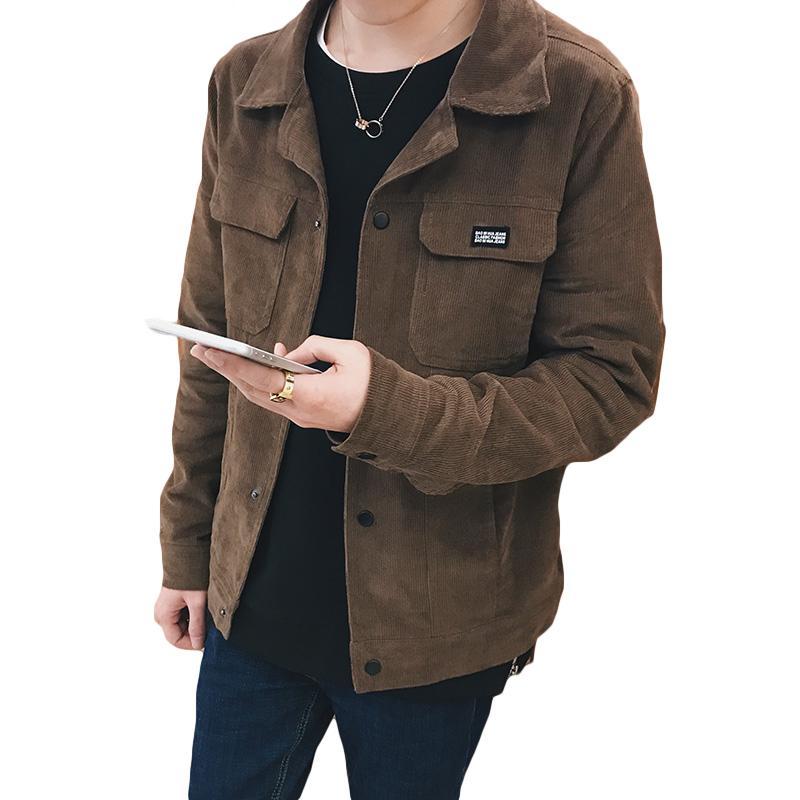 Coreana capa de la chaqueta de los hombres de moda pana Turn-down Collar bolsillos de color caqui para hombre chaquetas y abrigos de abrigo informal cazadora Hombre