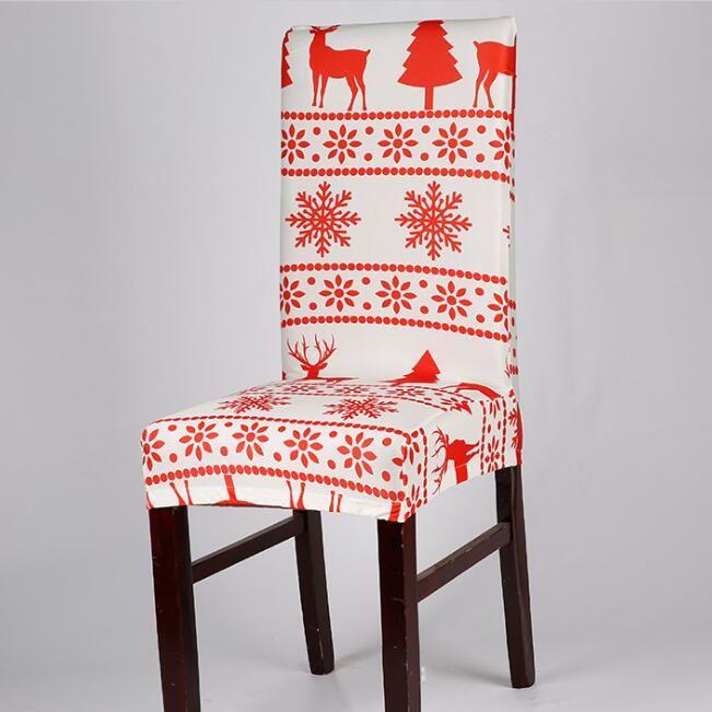 Рождественский Председатель Обложки моющийся Печатные Упругие Ресторан Стулья для рождественских украшений Stretch столовой отеля крышка стула