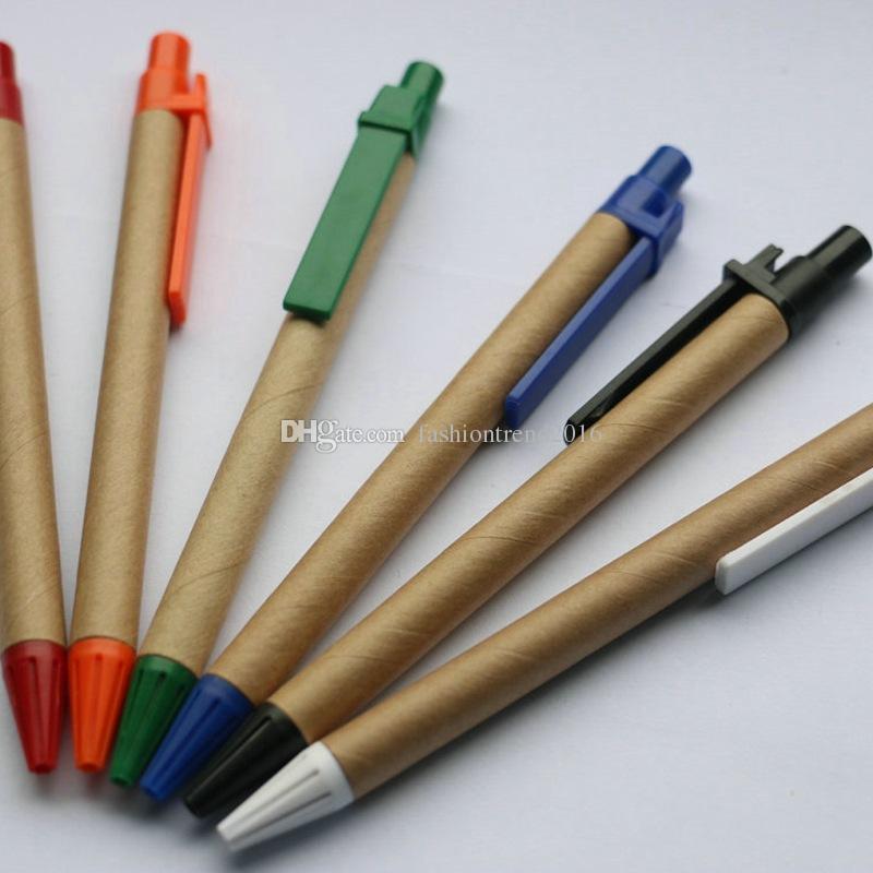 Papier recyclé stylo papier Kraft Logo Tube Custom stylos à bille en gros