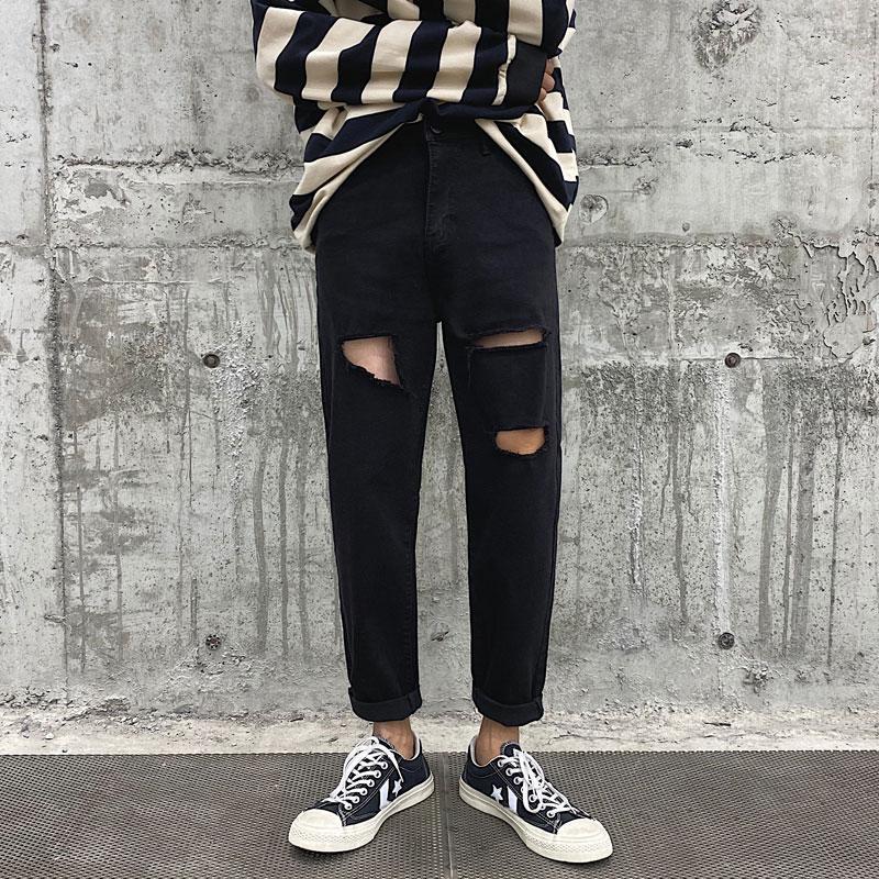 2020 Primavera Estate Trend foro Jeans Pantaloni Uomo Nero diritto casuale Denim Pantaloni Mens Abbigliamento