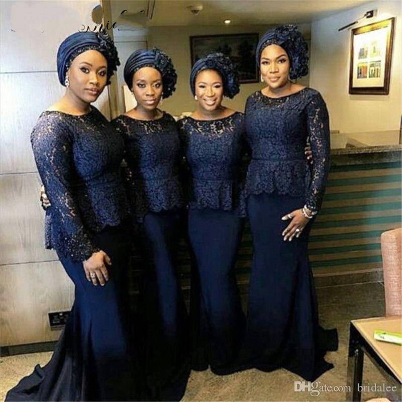Elegante navy blu manica lunga abiti da damigella d'onore pavimento lunghezza raso pizzo africano pizzo abiti da festa a buon mercato economici 2020 nuovi