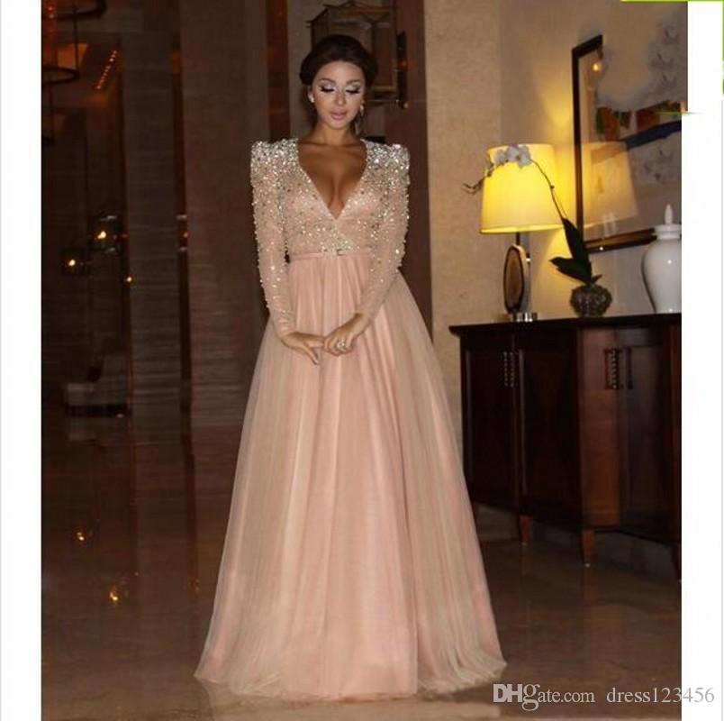 2019 New prom Dresses Myriam Fares Long Sleeve Celebrity Dresses A Line Deep V Neck with Beaded Top Padded Shoulder and Tulle Skirt