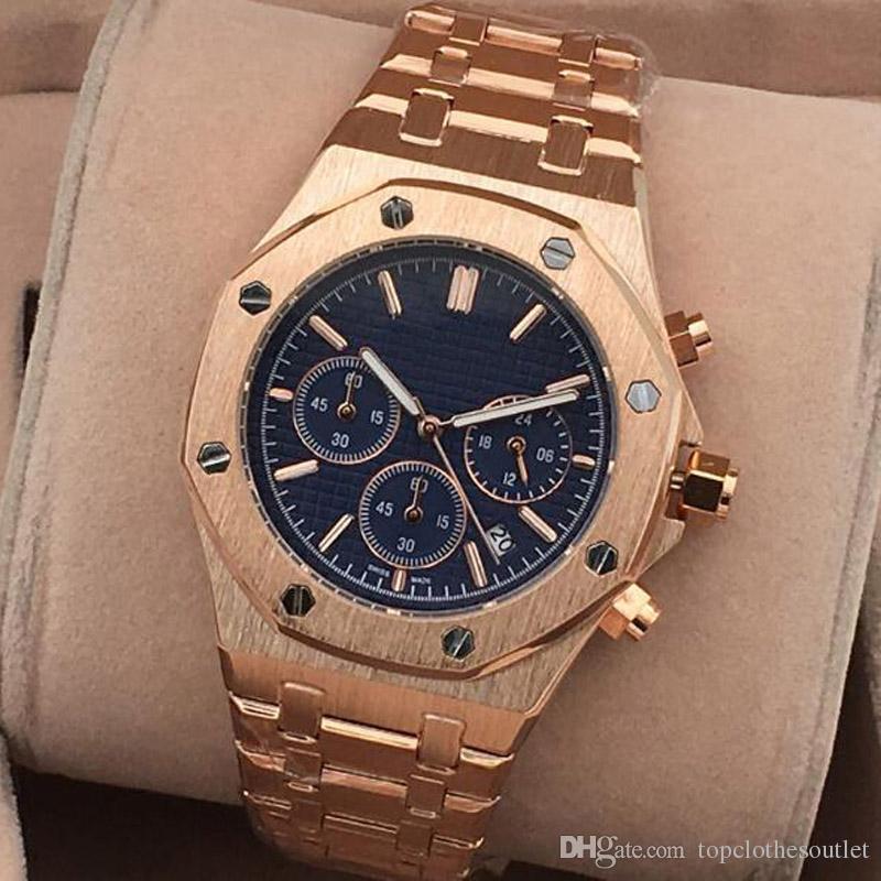 2020 nuovo modo superiore Mens Classic orologi in acciaio inox orologi del quarzo Tutti i contatori Opere Relogies per gli uomini Orologi Cronometro