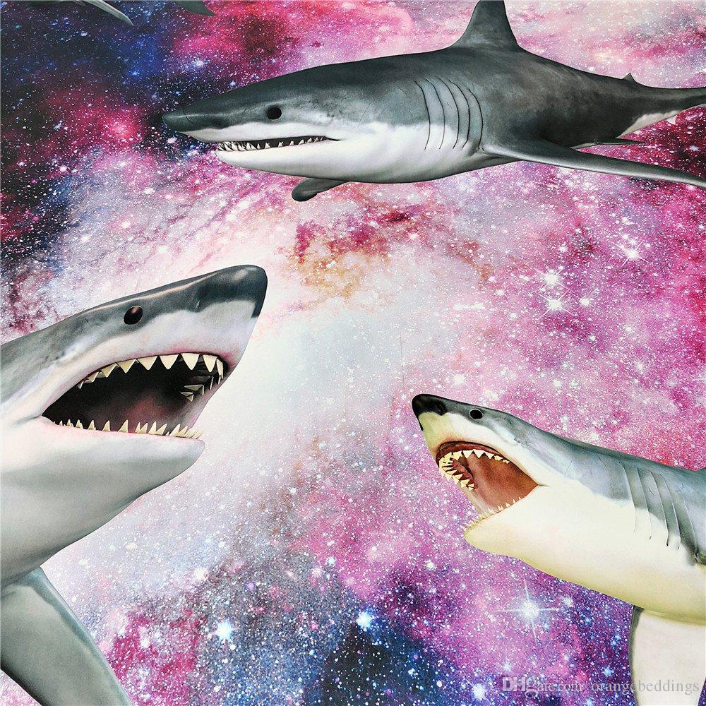 Tamaño púrpura Galaxy funda nórdica Colchas niños para los muchachos gemelos Shark Ropa de cama 3 piezas adolescente almohada Shams NO edredón