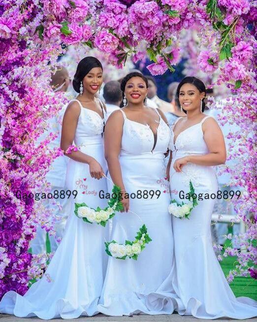 2020 африканской невеста платья сексуальной без бретелек Свадебных платьев гостей упругой пятно горничная честь халатов сада партии русалки Торжественной одежды