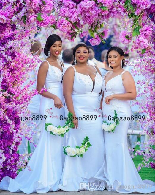 2020 africano dama de honra vestidos sexy sem alças do casamento Vestidos de Clientes mancha elástico dama de honra do partido jardim vestidos sereia Formal Wear