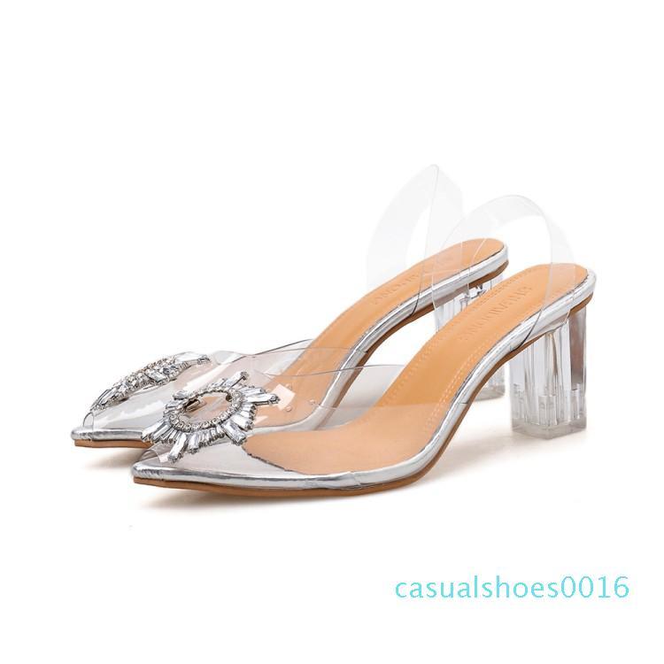 PVC Şeffaf Şeffaf Fetiş Lüks Tasarımcı Kadın Extreme Mules Süper Yüksek Topuklar Kadınlar Seksi Ayakkabı Bayanlar Sandalet c16 pompaları