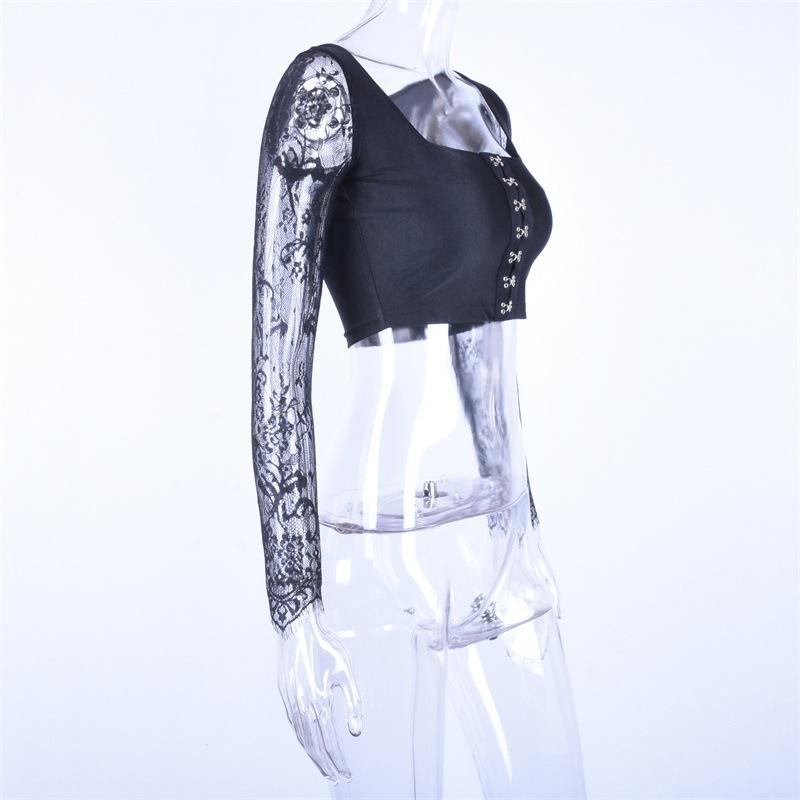 ce59286d7fc Womens T Shirt 2019 Spring New Sexy Lace Belted Clothing Fashion Buckle  Button Crop Tops Skinny Tube Top Slash Neck Clothes Clever T Shirts Best  Tee Shirts ...