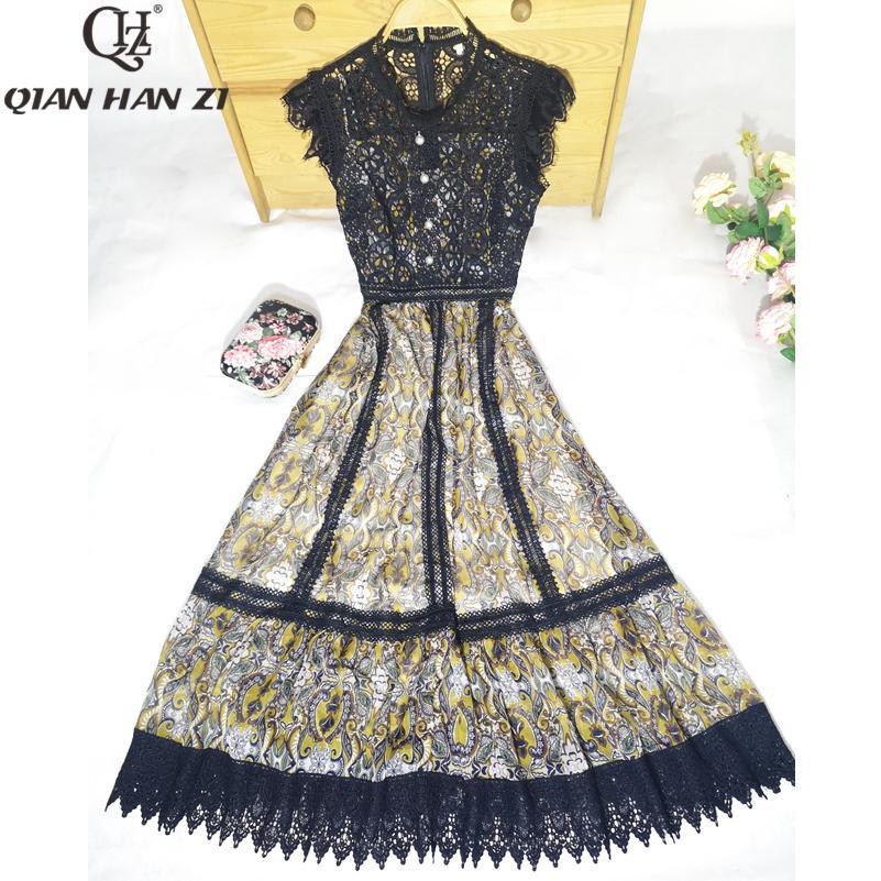 El más nuevo vestido de moda de verano Vestido de fiesta retro de gasa con manga de pétalos bordados con estampado de gasa