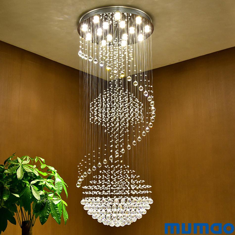 Lüks Modern Avize Büyük Büyük Merdiven Uzun Spiral Kristal Avizeler Merdiven Bırak Kolye Işık için LED Aydınlatma Armatürü Lamba