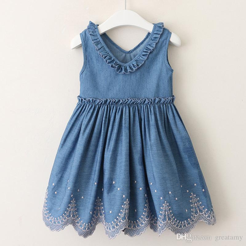 Baby girls denim dress summer girl casual auricular V-neck hem flower jeans waistcoat skirt kids boutiques clothing