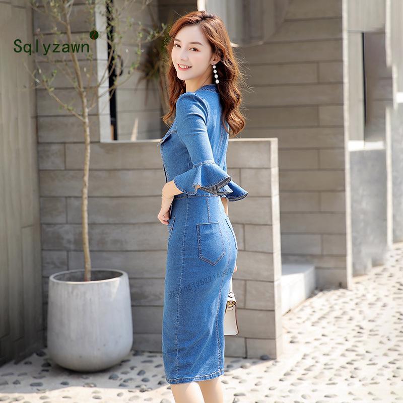 Wholeslae-estate delle donne Vestidos 2019 pulsante Nuova tasca dei jeans del vestito da Runway sexy Split signore denim