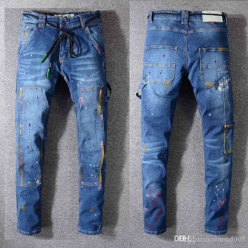 2020ss gli ultimi uomini italiani vuoti dei jeans di alta qualità hip hop Logo Designer pantaloni dimensione nuova HY03 uomini di Natale