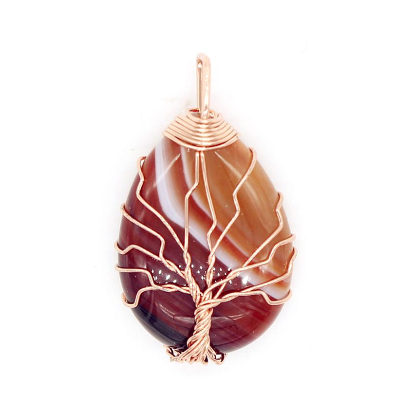 100-Unique 1 Pcs Rose Gold Color Wire Wrap Tree of Life Water Drop Stripe Brown Agates Pendant Charm Jewelry