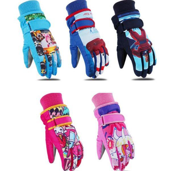 New Children's Skiing Gloves Winter Outdoor Sports Gloves Windbreak Warm Size Kids Cotton Cartoon Gloves Thickened For 3-12 years old #ST17