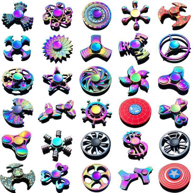 120 tipos em estoque fidget spinner arco-íris mão spinners tri-fidget metal gyro dragão asas de olho olho brinquedos girando top handpinner witn caixa
