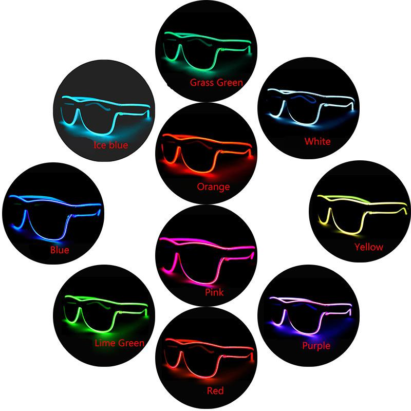 LED Flashing Glasses 10 colors EL Wire LED Glasses Glowing Party Supplies Lighting Novelty Gift Bright Light Festival Party Glow Sun glasses