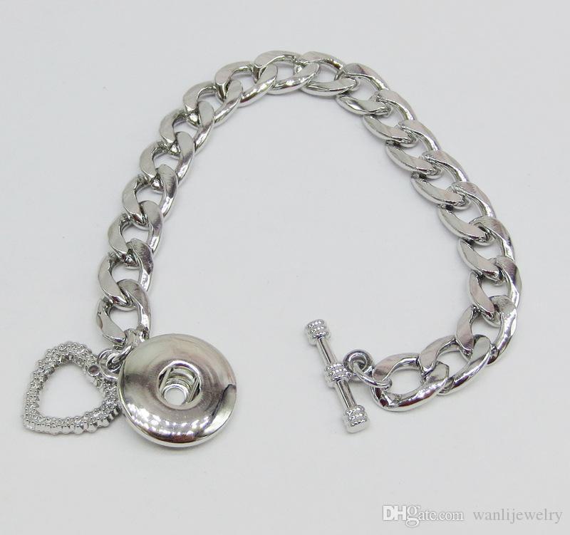 Bricolage Bangles 18mm montre bracelet boutons Snap métal nouveaux bijoux Bracelet pour les femmes
