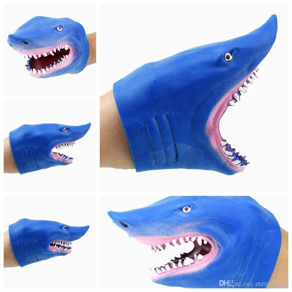 Bule Shark Hand Puppet TPR Rubber Stretchy Lifelike Role Play Best Bedtime Story Toy for Kids