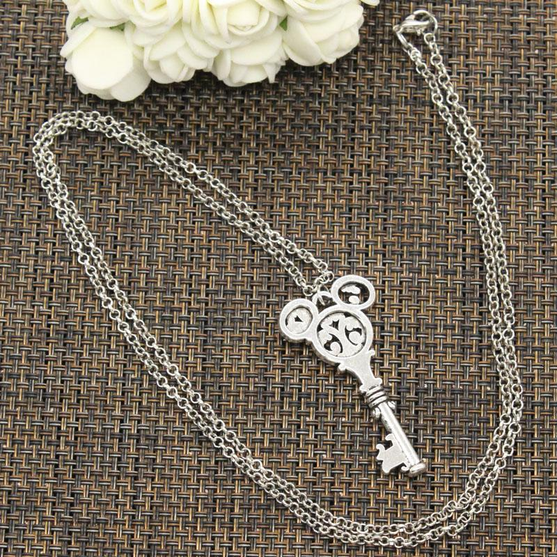 New Fashion Tibetan Silver Color Pendant Vintage Mouse Key Choker Charm Short Long DIY Necklace Factory Price Handmade Jewelry