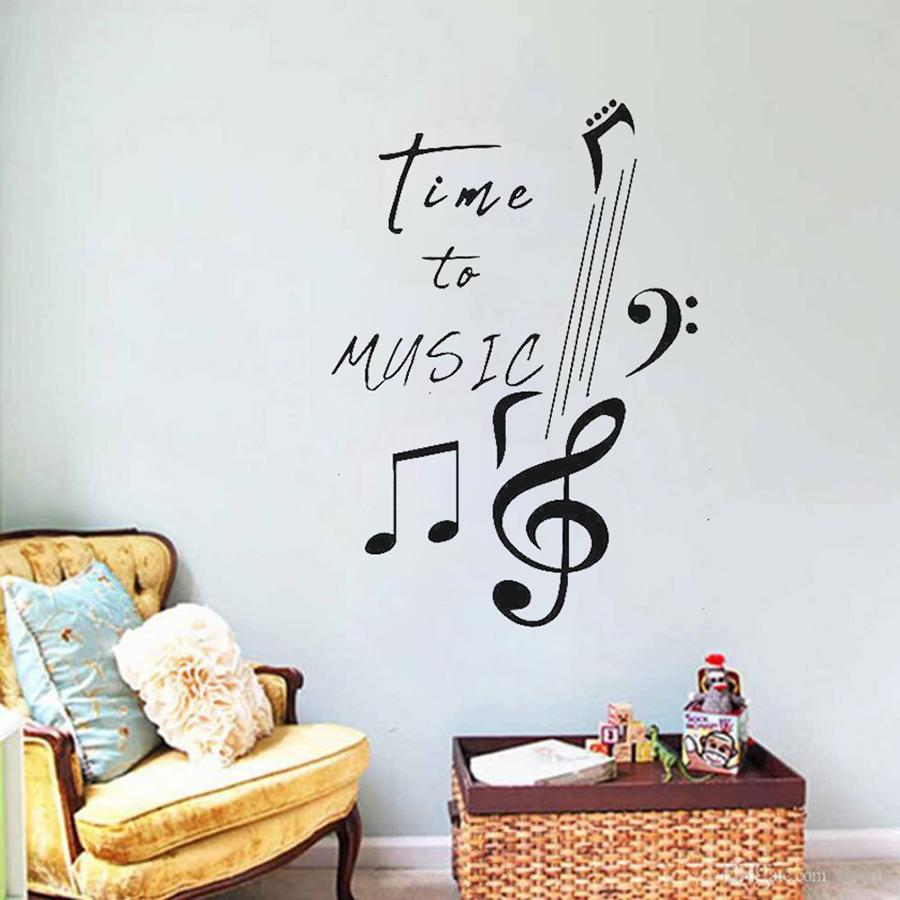 Time to Music Wall Decal Quotes Music Notes Inscription Melody Song Vinyl Sticker Girls Boys Room Decor Bedroom Stickers