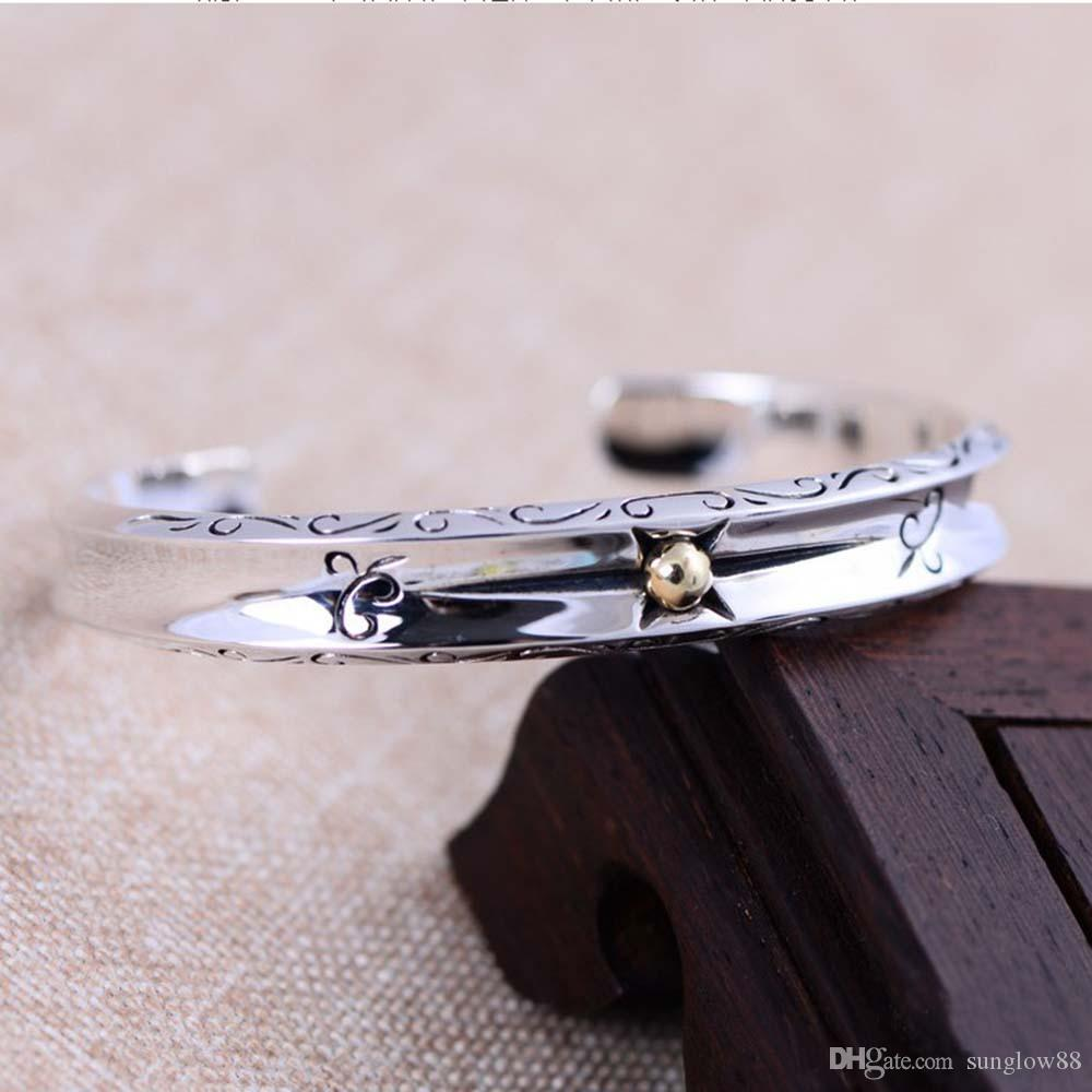 Wholesale 925 Sterling Silver Golden Two Tone Star Cuff Bracelet Women Bangle China Style Engraved Flower