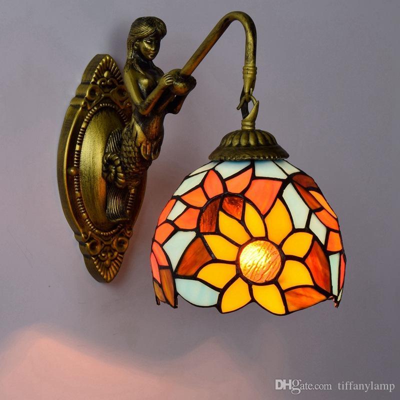 Sconces de vidro lâmpadas de parede de girassol de vidro do vintage europeus Tiffany Stained Quarto Corredor parede luminárias Dia15cm