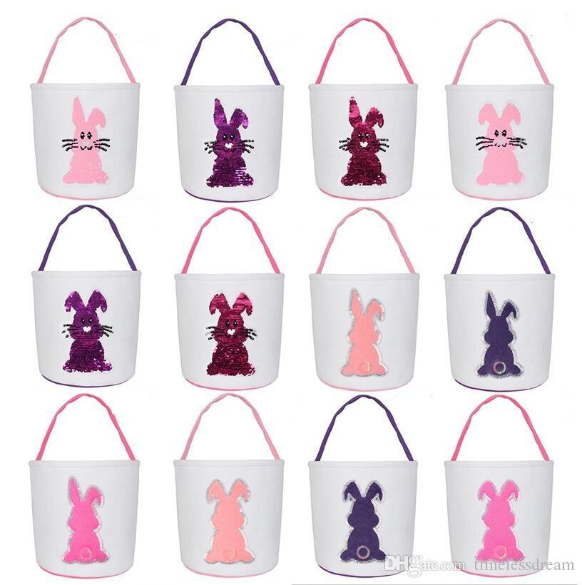 12 Farben Kreative Osterhase Korb mit Kaninchen Muster Ostern-Süßigkeit Tragetaschen Leinwand Ostern Kaninchen-Beutel-Partei-Geschenk