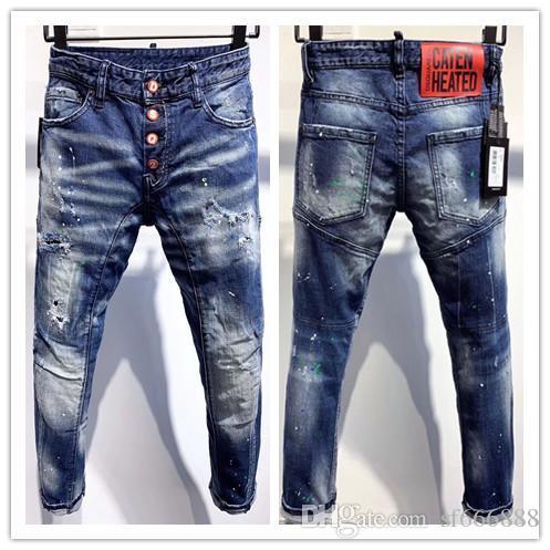 calças de brim A nova moda marca dos homens europeus e americanos são jeans casual motocicleta calças de brim magros DA337 desgastado mão dos homens