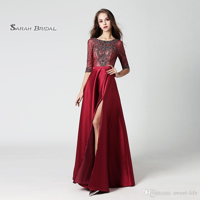 2020 Luxury A-Line Burgundy Beads Satin Prom Dress Sexy High Split Backless Evening Party Gowns LX448