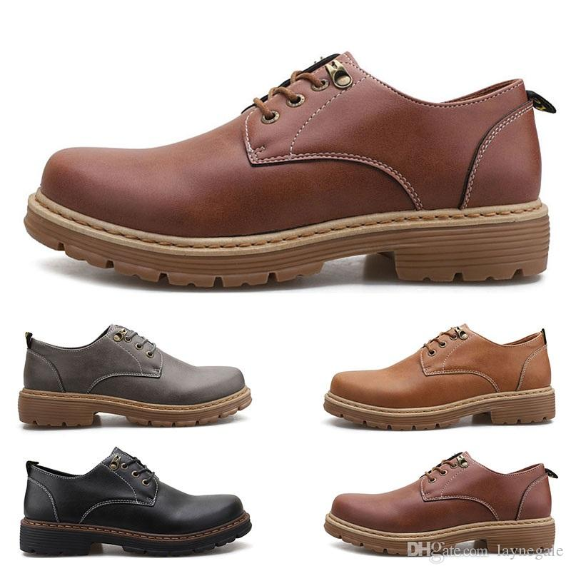 2020 Большие размеры 38-44 новые мужские кожаные мужские ботинки галоши британских вскользь освобождает перевозку груза Espadrilles # 31