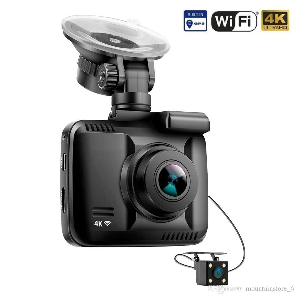 بنيت حديثا 4K GPS واي فاي سيارة DVR مسجل داش كام عدسة مزدوجة سيارة كاميرا الرؤية الخلفية كاميرا للرؤية الليلية Dashcam (التجزئة)