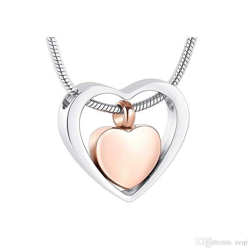 Sevdiklerinize Küller Keepsaker Takı Ölü yakma kolye için IJD8078 Gümüş ve Pembe Altın Kalpler Kremasyon Urn özelleştirme Metin / Ad