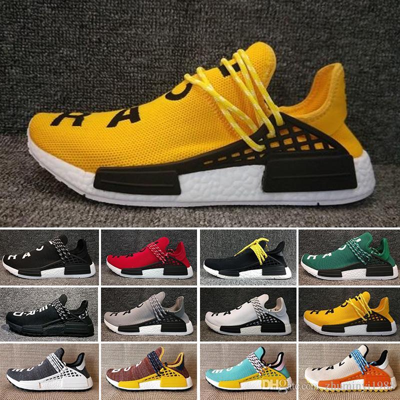 ADIDAS Originals NMD Human Race Kutu ile İnsan Yarışı Pharrell x Güneş Hu Glide ST Rahat Koşu Ayakkabıları pharrell williams Hu iz Krem Çekirdek Siyah Eşitlik eğitmenler