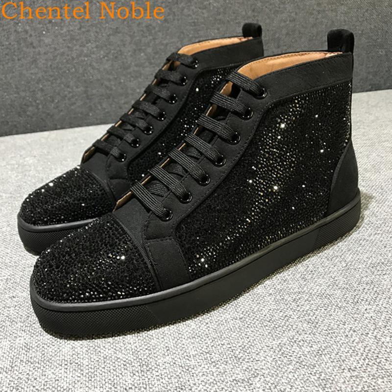 2019 Marca Chentel Bling Cristal Homens Casual Shoes Party Dress Shoes Men Flats Lace-Up Sneakers Negro Cor Big Two Estilo Tamanho T200413