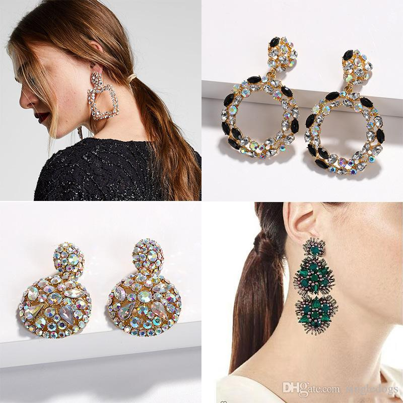 New Fashion Designer Exaggerated Vintage Geometry Box Circular Diamond Colorful Rhinestone Crystal Pendant Stud Earrings For Women Girls 2020 From Singledogs 0 6 Dhgate Mobile