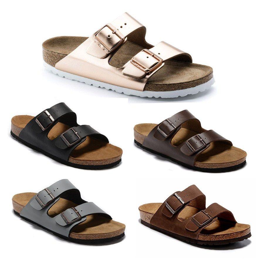 O estilo de Arizona Mulheres Plano Sandals Mulheres Duplo Buckle famosa praia do verão sapatos de design de qualidade superior couro genuíno Chinelos 36-47