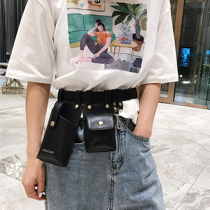 Cinto Bag Mulheres Fanny 2019 Moda Couro Telefone Bolsa Punk cintura Bag Belt Feminino Bolsa Packs