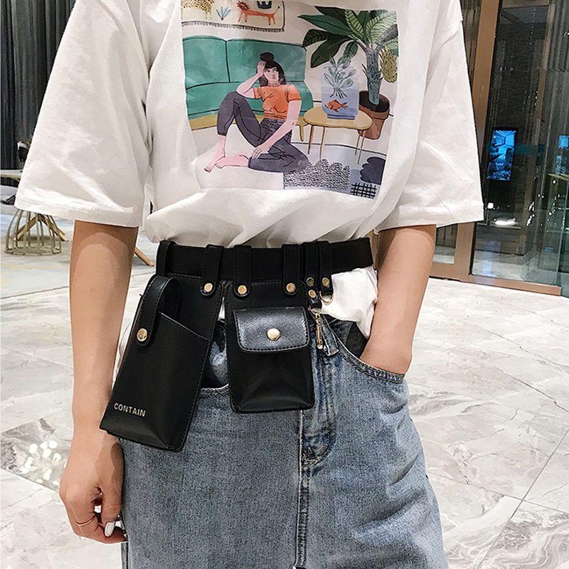 Taille Gürtel Leder Fanny Packs Taille 2019 Mode Punk Telefon Beutel Geldbörse Frauen Tasche Gürtel Weibliche Tasche Packs CBBRV
