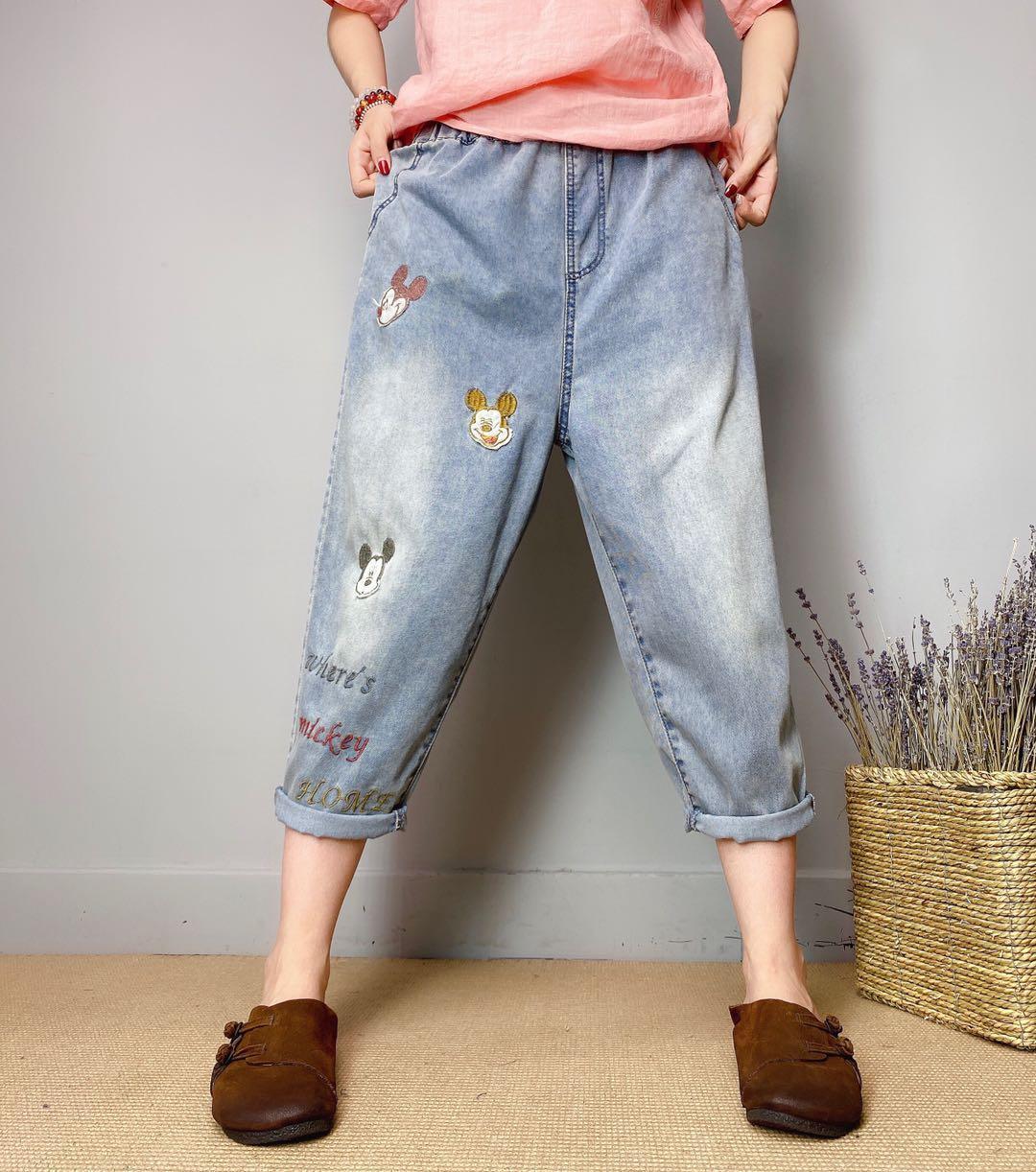 Violet Pantalons Haroun Colorés dessin ou modèle Femme Jeans En été Bk4640