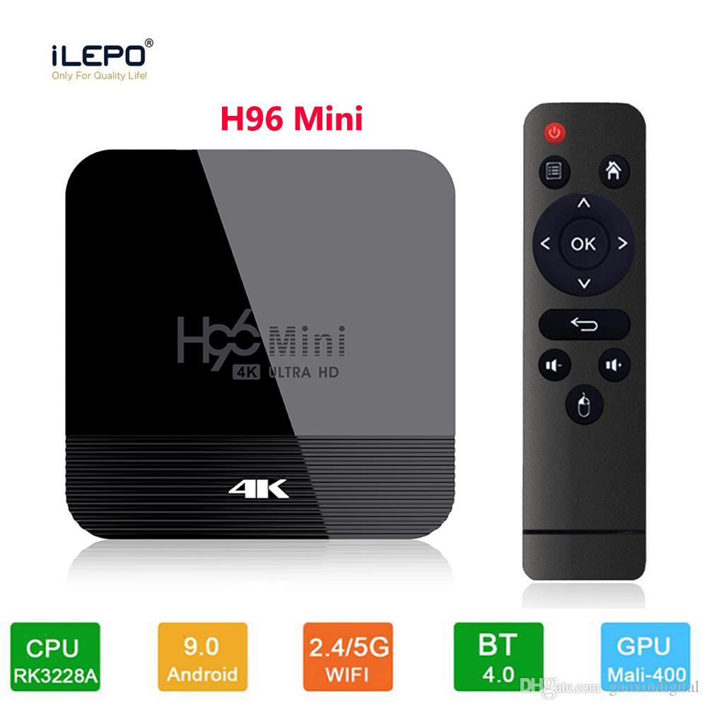 H96 mini-H8 Android 9.0 TV Box Rockchip RK3228A 4K 2,4 + 2 Go 16 Go 5Ghz double Wifi BT4.0 Set Top Box