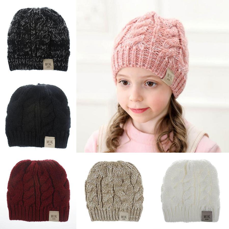 Çocuk Atlık Beanie 8 Renkler Mok Mektubu Kış Örme Kapaklar Kızlar Akrilik Yün Kafatası Kapaklar Açık Bebek Şapkalar OOA7252-9