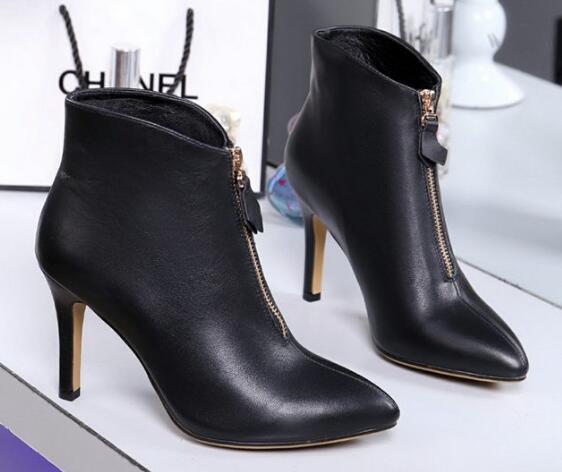 Горячее Сбывание Brand New женщины Высокого каблука голеностопного Knight Водонепроницаемой Осень Зима Boots Zip Корова кожи обувь Размер 35-40