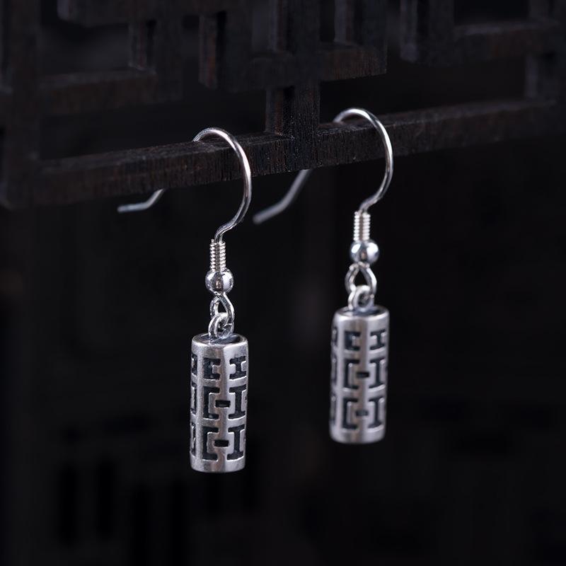 Kadınlar Hollow Out Silindir Drangle Küpe Antik Gümüş Etnik Takı Dropshipping için% 100 Gerçek 925 gümüş küpe