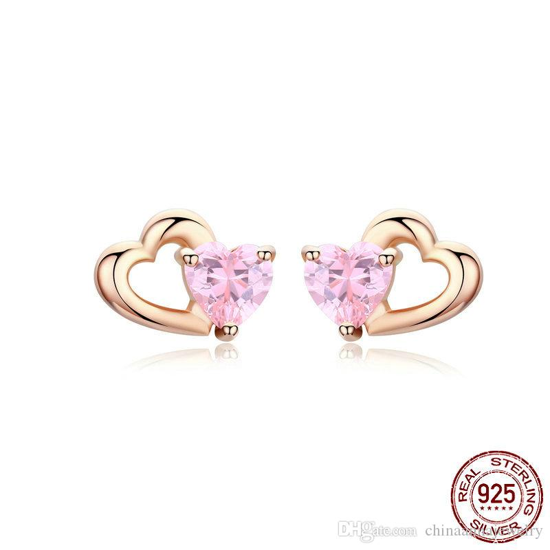 100% Real 925 sterling silver High Polished trending hot products pink zircon earring stud heart cz jewelry post earring