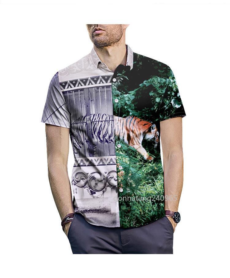 2019 جديد وصول الرجال قميص قصير الأكمام أوروبا نمط ملابس رجالية أزياء نمط الأزهار طباعة النمر رئيس قميص أوم الصيف